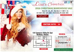 Lisa's Cosmetics 2016 Christmas Warehouse Sale Save up to 80% on brand name cosmetics, fragrances, and health & beauty products. Also featuring fashion purses, fine chocolates, and designer sunglasses.