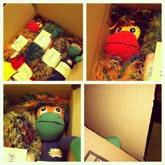 Getting SMAC monkeys NoMo and Phoenix all boxed to send to China, along with the yarn for their hair. Yeah, apparently the factory doesn't have this kind of yarn? Ummm...what? I really hope the samples the factory produces are spot on. Monkey fingers and toes crossed. #smacancer (big ps....tried everything I could to have them made in USA).