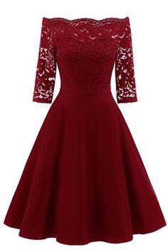 Lace Off The Shoulder Vintage Flare Dress Cheap Party Dresses, Cheap Dresses Online, Prom Dresses Uk, Pretty Dresses, Beautiful Dresses, Casual Dresses, Fashion Dresses, Elegant Dresses, Sexy Dresses