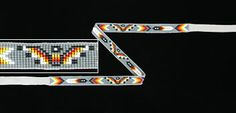 "Native American Beadwork Hat Bands    A thunderbird or water bird pattern hat band is woven in medium gray 10/11º seed beads accented with pearl white and clear flame colors. 3/4"" wide x 22-1/4"" long, the loomwork is finished with 7-3/4"" long light gray leather ties. Made by Navajo Sheri Jackson.  $61.75"