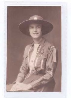 Early 20th Century Older Girl Guide In Full Uniform Real Photograph U/P c1910s. Not very early judging by tie shape and patrol leader stripes on pocket.