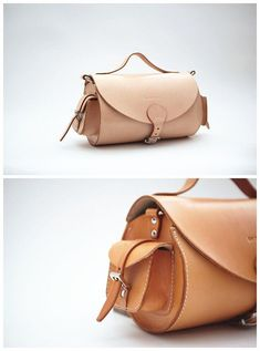 Handstitched vintage minimalist leather messenger by QQBoutique, £118.00
