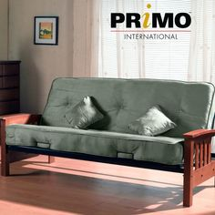 Primo International Indie Complete Futon with Pillows Wooden Arms and Pocket Coil Mattress Herbal *** You can find out more details at the link of the image. (This is an affiliate link) 0 Wood Futon Frame, Sofa Bed Frame, Mattress Frame, Futon Mattress, Mattress Sets, Futon Sets, Japanese Bed, Best Futon, Futon Chair