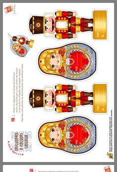 Beautiful Russian Christmas Printables - Nutcrackers and Matryoska *Noël Russe* Nutcracker Crafts, Nutcracker Christmas, Christmas Paper, Christmas Holidays, Christmas Crafts, Christmas Ornaments, Paper Ornaments, Matryoshka Doll, Thinking Day