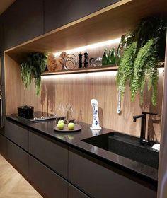 20 elegant and luxury kitchen design ideas 14 Industrial Kitchen Design, Kitchen Room Design, Contemporary Kitchen Design, Home Decor Kitchen, Interior Design Kitchen, Kitchen Walls, Decorating Kitchen, Modern Contemporary, Kitchen Cabinets