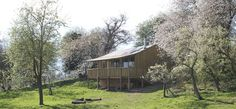 The Damson Cabin - Worcestershire. A lovely cabin, gigs up at the house and your own corner of the orchard to relax in. Add the two yurts and sleep a party of 12...
