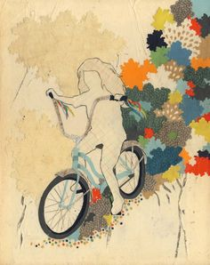 art, collage, bicycle