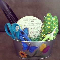 Gardener's gift basket - $15 plus shipping Garden Basket, Garden Gifts, Finding Peace, Giving, Gift Baskets, Good Things, Gift Ideas, Sympathy Gift Baskets, Garden Cart