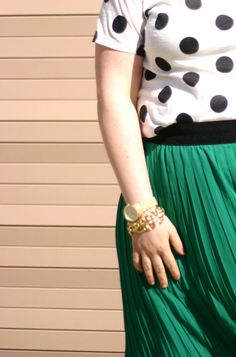 emerald skirt with polka dot top (or stripes)