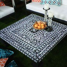 KMD Indian Inlay Stencil - Fab coffee table - perfect for an outdoor space