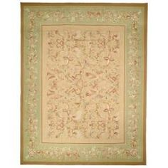 Hand-knotted French Aubusson Beige Wool Rug (8' x 10')