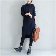 High Fork Pile Heap Collar Knitted Dress