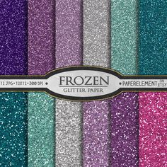 12 printable glitter paper in frozen colors of blues, purples, pink and silver. Great for DIY frozen invitations and frozen birthday party decor. Also available in matching bokeh paper.