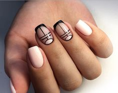 Exquisite fashion nails - Page 19 of 20 - Inspiration Diary Nude Nails, Nail Manicure, Acrylic Nails, French Nails, Gorgeous Nails, Pretty Nails, Gel Nagel Design, Geometric Nail, Funky Nails