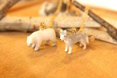 Hand-painted animal necklesses - Polar bear + Wolf