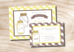 COUNTRY GINGHAM Mason Jar Wedding by PaperHeartCompany on Etsy