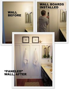 "DIY remodel small bathroom - so beautiful, love it. ""We again used the 1 x 4 MDF boards at about the half-way point on 3 walls. The top board sat above the black and white tile and that determined the height of the rail. They were glued and nail-gunned on. Chalked and painted """