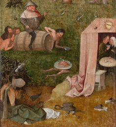 Jheronimus Bosch Allegory of Intemperance is a Hieronymus Bosch painting made sometime between 1490 and 1500. It is currently in the Yale University Art Gallery in New Haven, Connecticut.[1]  This panel is the left inside bottom wing of a hinged triptych. The other identified parts are the The Ship of Fools, which formed the upper left panel, and the Death and the Miser, which was the right panel; The Wayfarer was painted on the right panel rear. The central panel, if existed, is unknown.