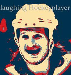 lachender Hockeyspieler