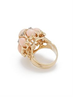 Vintage Coral & Diamond Cocktail Ring by Estate Fine Jewelry at Gilt
