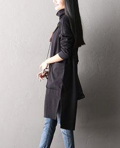 High Collar Big Pocket Hem Split Dress