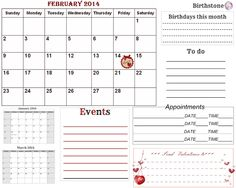 Free-printable  2014 Calendars*** FEBRUARY***