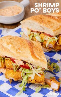 Shrimp Po'Boy Sliders will transport you to NOLA. Shellfish Recipes, Shrimp Recipes, New Recipes, Favorite Recipes, Cooking Recipes, Slider Recipes, Sandwich Recipes, Lunch Recipes, Shrimp Po Boy