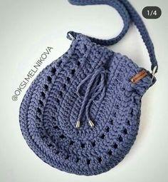Crochet Tote, Crochet Handbags, Crochet Purses, Love Crochet, Knit Crochet, Crochet Stitches Patterns, Crochet Designs, Fabric Bags, Knitted Bags
