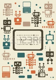 vintage robots set with banner  Stock Vector