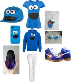 """""""Cookie Monster Obsession"""" by alondra-marie-gonzalez ❤ liked on Polyvore"""