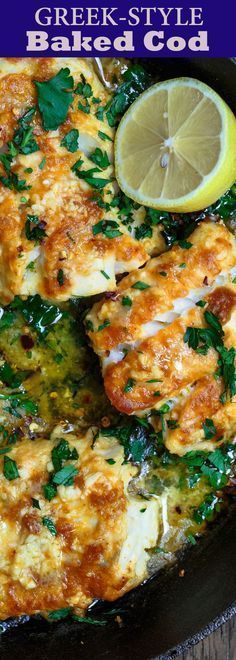 Greek-Style Baked Cod Recipe With Lemon And Garlic The Mediterranean Dish. Simple, Weeknight Dinner Baked Cod, Spiced Greek-Style And Baked With Fresh Lemon Juice, Olive Oil And Garlic. Takes 15 Minutes Or Less In Your Oven Fish Dinner, Seafood Dinner, Fish Ideas For Dinner, Cook Dinner, Seafood Recipes, Cooking Recipes, Healthy Recipes, Baked Cod Fish Recipes, Easy Cod Recipes