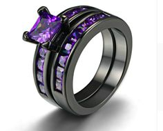 New Vintage Two Band Black Gold Filled Amethyst Princess Cut Engagement Rings Fashionable and trendy this women's cubic zirconium ring set have a channel setting in black gold. Environmentally Safe St