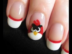 tutorial - come realizzare una angry bird nail art                 #tutorialnailart #nails #nailart #nailartdesign