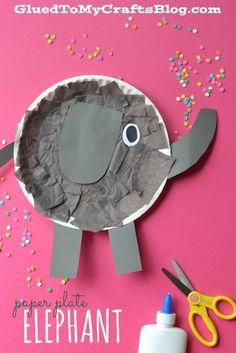 Paper Plate Elephant – Kid Craft Pappteller Elefant – Kid Craft Fun Activities for Kids Kids Crafts, Paper Plate Crafts For Kids, Daycare Crafts, Classroom Crafts, Glue Crafts, Projects For Kids, Art Projects, Paper Crafts, Easy Crafts