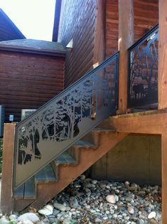 Stair & Balcony Railing for Log Hunting Lodge by NatureRails. Maintenance Free Railing.