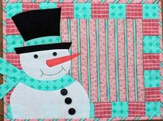 free quilt pattern quilt snowman placemat  | Fellows Placemats Pattern Download from ConnectingThreads.com Quilting ...