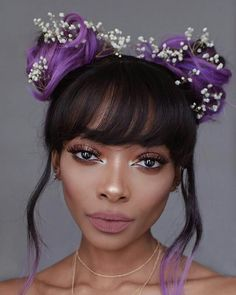 What an absolute beaut 😍 and look at those lashes. I'm unsure who the model is if anyone knows let me know so I can tag her 🌟 Short Hairstyles For Women, Messy Hairstyles, Wedding Hairstyles, Queen Makeup, Beauty Makeup, Hair Makeup, Lvl Lashes, Nyane Lebajoa, Purple Hair