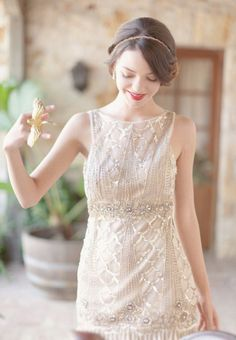 a dress gilded and sparkling to perfection  Photography by http://elisabethmillay.com