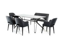 Modrest Synergy Modern Smoked Glass Dining Table  VGEUMC-6112DTProduct :16756Features:Smoked 10mm Tempered Glass TopBeveled EdgesRectangularSeats 6 ComfortablyMetal Legs in Black Matte FinishSome Assembly RequiredDimension :Dining Table :W71
