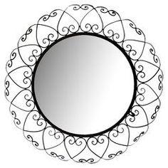Round Wrought Iron Wall Mirror