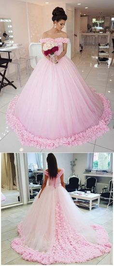 A-line Off-Shoulder Cathedral Train Tulle Pink Wedding Dresses With Flowers ABC00029 #weddingdresses #bridaldresses #pink #romantic #princess
