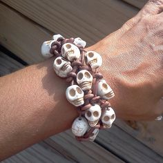 "Brown Leather and White Howlite Skulls bracelet  unisex  by RumCay, $23.95 10% OFF with coupon code ""Pinterest"""