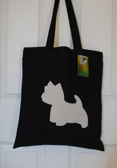 Handmade Shop, Etsy Handmade, Handmade Gifts, Scottish Gifts, West Highland Terrier, Scottish Tartans, Black Tote Bag, Reusable Bags, Westies