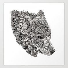 Tribal Wolf Art Print