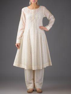 Cream - White Pintuck Kurta with Lining & Palazzos - (set of Pakistani Fashion Casual, Pakistani Dresses Casual, Pakistani Bridal Dresses, Indian Fashion, Pakistani White Dress, Pakistani Dress Design, White Anarkali, Modest Dresses, Stylish Dresses