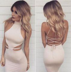 Baby Pink Halter Prom Dress,Lace Up Prom Dress,Sexy Mermaid Evening Dress,Tea Length Bodycon Dress