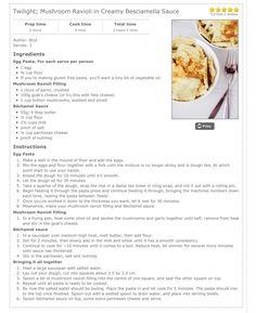Twilight; mushroom ravioli in creamy besciamella sauce