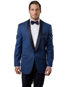 This modern fit dinner jacket features a beautiful paisley print material. A satin shawl lapel, and a one button closure and side vents. It's a guaranteed hit for any party of event. #BlackJacket #BlueJacket  #WeddingJacket #PromTux #WeddingTux #Tux #Wedding #Prom #DinnerJacket #Jacket Wedding Tux, Wedding Jacket, Mens Dinner Jacket, Fashion Suits, Mens Fashion, Prom Tux, Paisley Print, Shawl, Suit Jacket