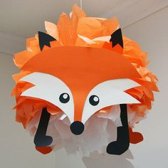Fox Tissue Paper Pom Pom Animal Kit forest friends party decoration, woodland animals party decoration, fox decoration by PomLeMoose on Etsy. Ideal for a woodland themed baby shower or birthday party.