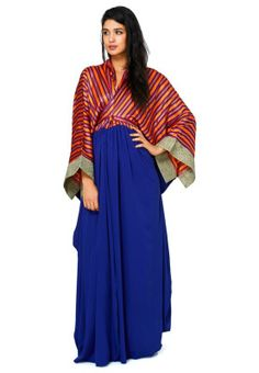 Dress up in true heritage style this season with Anaya. Flaunting the cultural trend, this flowy kaftan is built in a royal color palette and a front slit. Shop for it here!- http://en-ae.namshi.com/buy-anaya-half-half-kaftan-for-women-kaftans-55708.html